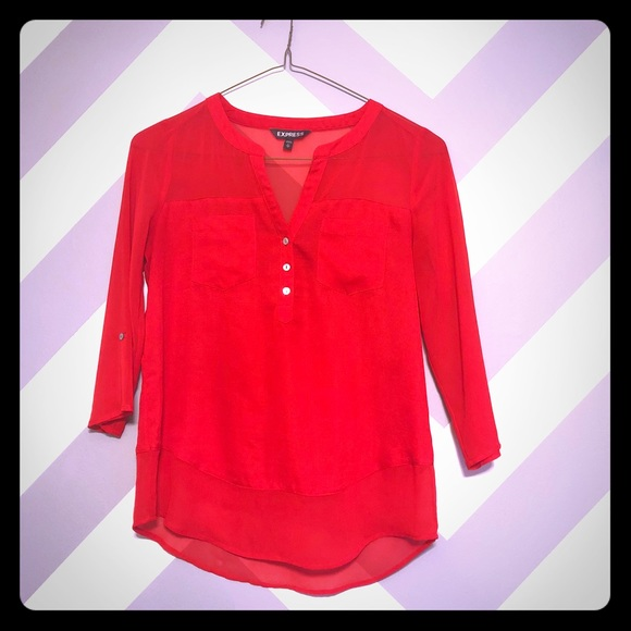 Express Tops - ➡️JUST ADDED⬅️ Express Red 3/4 Sleeve Top